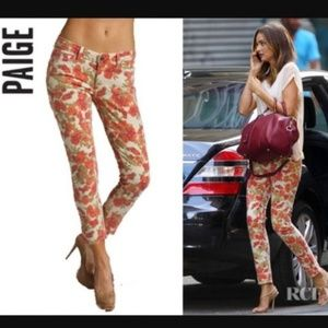 Paige Skyline Ankle Peg Cream Orangle Floral Pants